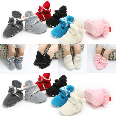 UK Winter Warm Baby Boy Girl Slippers Non Slip Snow Boots Crib Casual Shoes -18M
