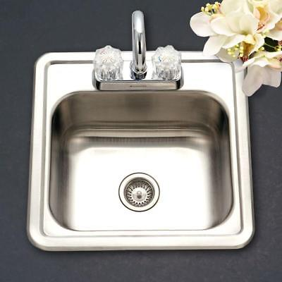 Drop-In Kitchen Sink Single Bowl Stainless Steel Hospitality Series Bar / Prep