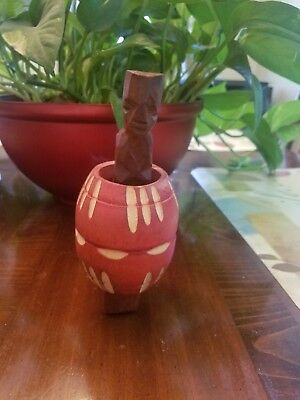 Naked Barrel Man / Naked Man in a Barrel - Funny Hand Carved Large - Red