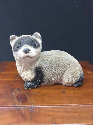 Vintage Stone Critter Littles Signed Black Footed Ferret Figurine SCL065