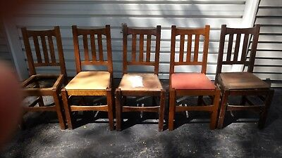 8285b51ac2 Set 5 Stickley U-Back Dining Chairs mission oak old antique chair quarter  sign