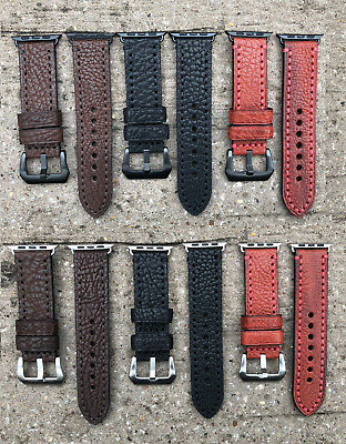 For Apple Watch 4 3 2 1 38/40/42/44mm Thick Grain Calf Leather Watch Strap Band