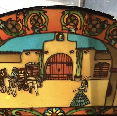 "Large Vintage 65x32"" Original Arched Stain Glass Panel Window w/Spanish Scene"