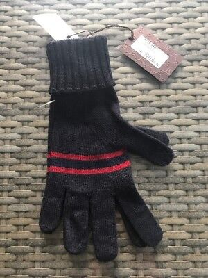 62f7e8adb507d New Gucci Men s  175 Blue Wool Red Web Stripe Gloves Mittens L Authentic