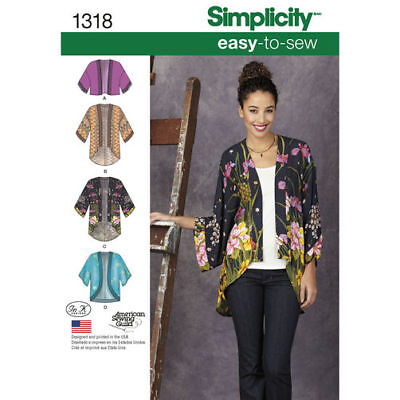 Simplicity Sewing Pattern 1318 Women's Misses 4-26 Easy Kimono Jackets Tops