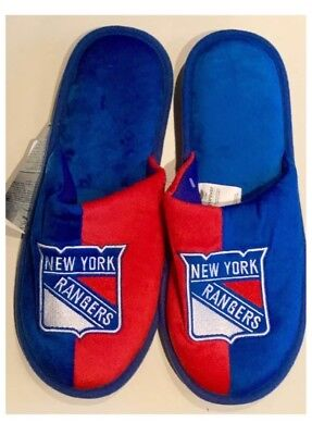 New York Rangers NHL Ice Hockey Dual Colour Logo Slippers : Medium