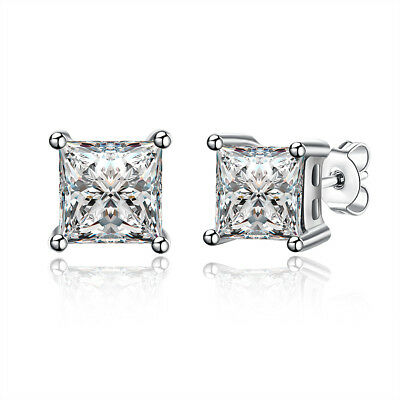 0c3663989 1/2 CT PRINCESS Stud Earrings 14K White Gold Plated with Swarovski ...
