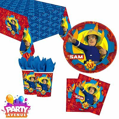 Fireman Sam Hero Childs Birthday Party Tableware Plates Cups Napkins Tablecovers