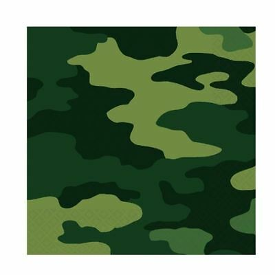 16pk Army Camouflage Lunch Napkins Birthday Party Tableware Military Camo