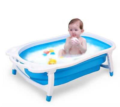 Folding Baby Bath Tube Flat Foldable Recline New Born Baby BathtubBlue