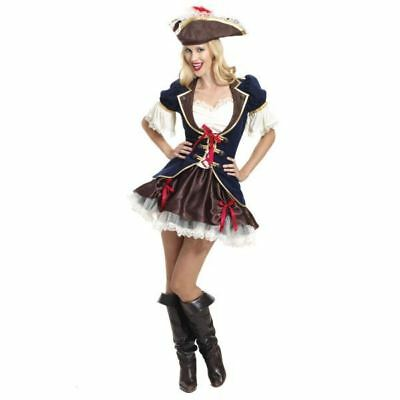 Pirate Captain Buccaneer Costume Ladies Shipmate Fancy Dress Womens Size 10-12