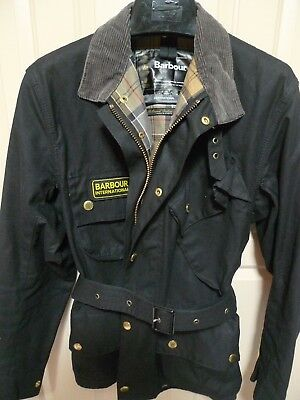 Barbour-  International  Waxed Cotton Jacket & Belt- Black- Made In England- 34