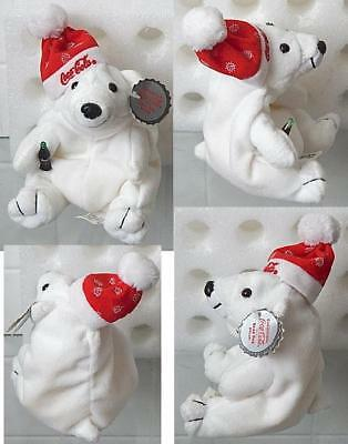 Coca Cola Coke Bean Bag Plush Polar Bear with Snow Flake Cap 1997 w/ Tag