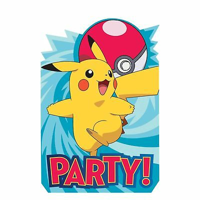 8pk Pokemon Invitations , Envelopes and Save the Date Stickers