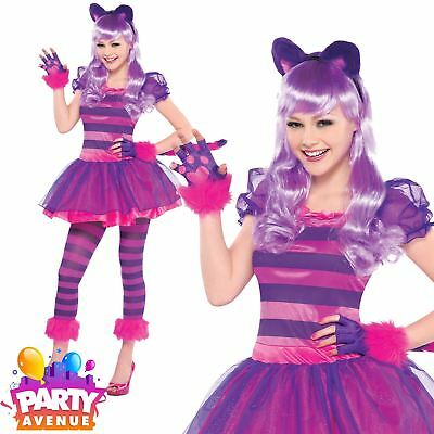Cheshire Cat Alice In Wonderland Kids Teen Fairytale Fancy Dress Costume