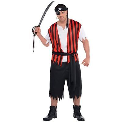 Adult Ahoy Matey Pirate Costume Mens Fancy Dress Captain Jack Outfit Plus Size