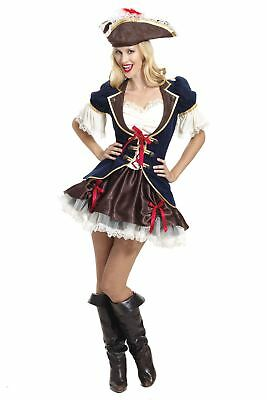 Adult Pirate Captain Buccaneer Costume Ladies Shipmate Fancy Dress Outfit 14-16