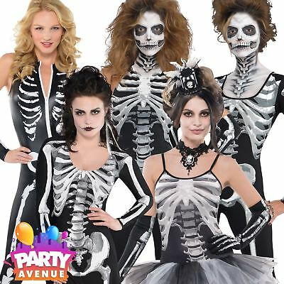 Womens Halloween Skeleton Fancy Dress Costumes Catsuit Babe Ladies Outfits
