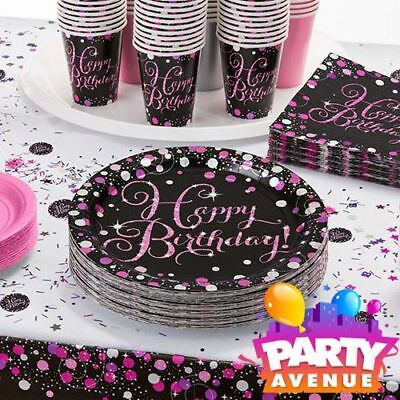 Pink Sparkling Celebration Happy Birthday Tableware Napkins Plates Table Cloth