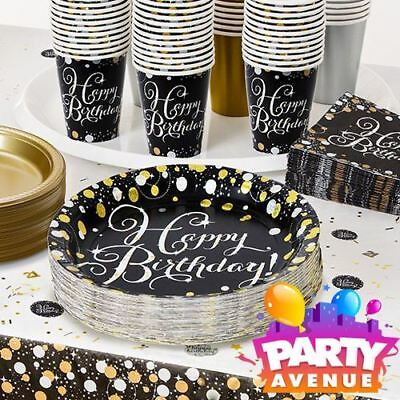 Gold Sparkling Celebration Birthday Tableware Napkins Plates Table Cloth