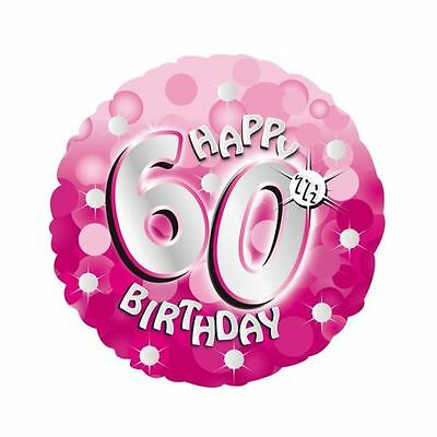 """Pink Sparkle Happy 60th Birthday 18"""" Helium Foil Balloon Party Decorations"""
