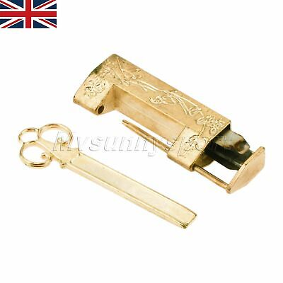 UK STOCK Carve Flower Bird Cabinet Jewelry Box Padlock 42*10*18mm & Key Hardware