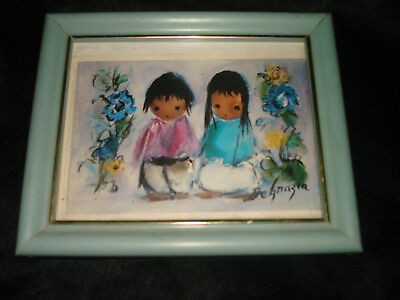 Vtg DEGRAZIA Flower Children Boy Girl Art Print Framed Miniature Big Eye Retro