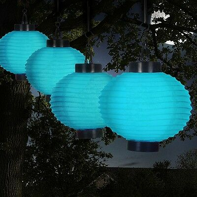 Chinese Lantern Solar Lights Blue LED String Patio Garden Deck Outdoor Hanging