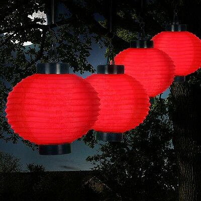 Patio Solar Lights Red Chinese Lanterns Outdoor LED Hanging String Garden Deck