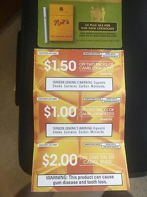 CAMEL AND NAT'S Cigarette Smoking Coupons Snus  Nicotine