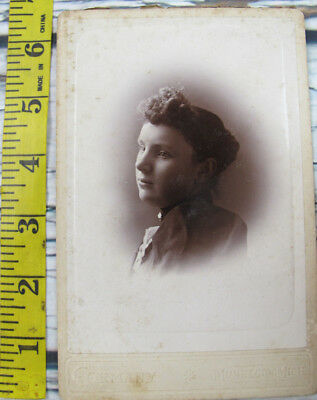 Vintage Antique Photo Cabinet Card Young Teen Girl Cormany Muskegon Michigan