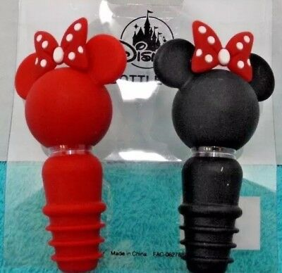 Disney Parks Minnie Mouse Bow Icon Head and Ears Wine Soft Stopper set