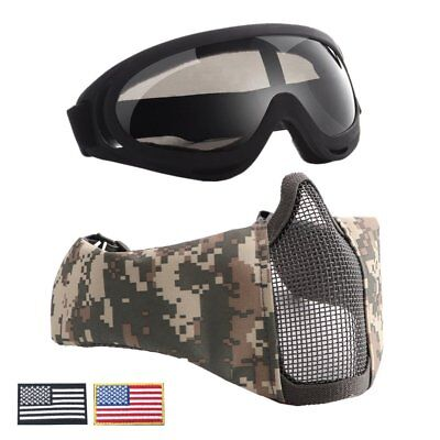 Half Metal Steel Mesh Face Mask And UV400 Goggles+Armband Set For Tactical ZI
