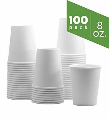 8 oz. White Paper Hot Cups [100 Pack] 8 oz. New