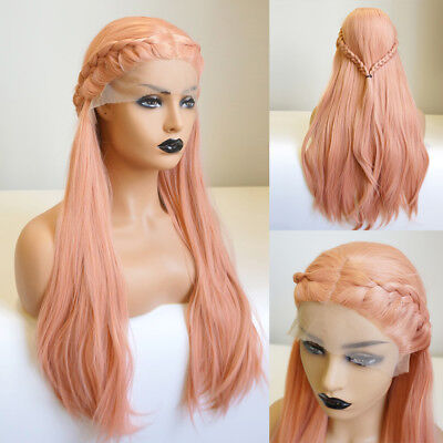 24 Inches Ash Pink Orange Wavy Braids Fashion Party Women Cute Lace Front Wig