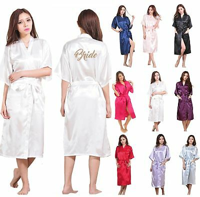 LONG Personalized Satin Silk Wedding Robe Bridesmaid Bride Mother Dressing Gown