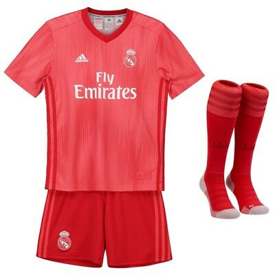 2018/19 Red Real Madrid Football Jersey for 3-14 Yrs Kids Kit Soccer  Suit+Socks