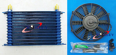 """15 ROW AN10 Engine Transmission Aluminum Oil Cooler Blue + 7"""" Electric Fan Kits"""