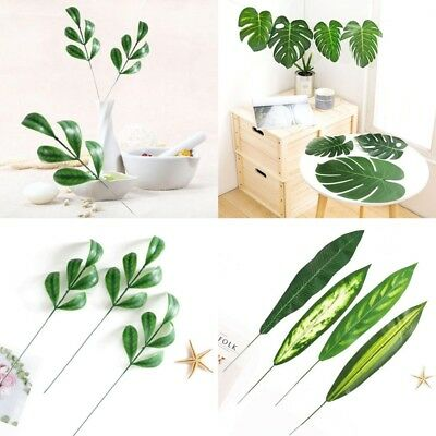 520Pc Artificial Tropical Palm Leaves Plastic Silk Fake Leaves Party Home_Decor