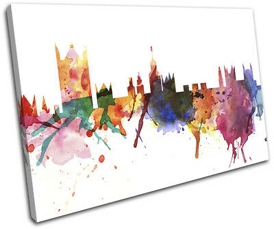 London Watercolour Style Abstract City SINGLE CANVAS WALL ART Picture Print
