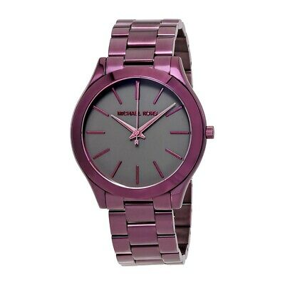 d63ff2952c02 New Michael Kors MK3551 Slim Runway Plum Purple Black Dial Women s Wrist  Watch