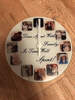 Personalised wall glass clock with12 photos/ text  all occasion gift Christmas