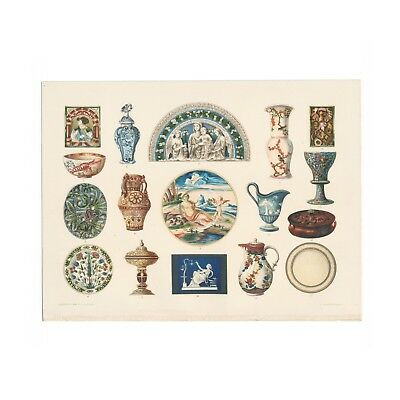 Antique color print of Ceramic and Decorative Art from 1899 reference book