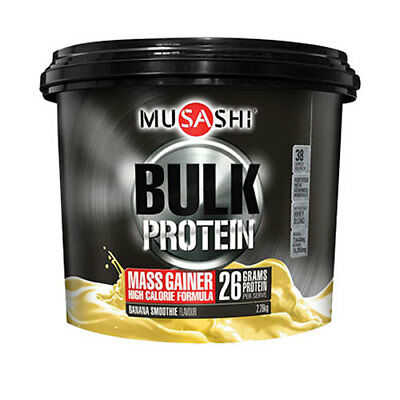 NEW Musashi Protein Powder Bulk Mass Gain Banana 2.28Kg Sports Supplements