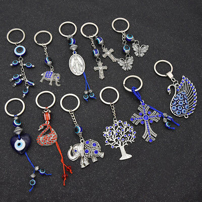 Womens Turkish Blue Evil Eye Pendant Key Chain Bag Charm Lucky Keyrings Gift