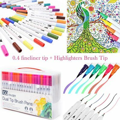 100 Color Marker Pen Dual Headed Graphic Artist Sketch Copic Markers Watercolor
