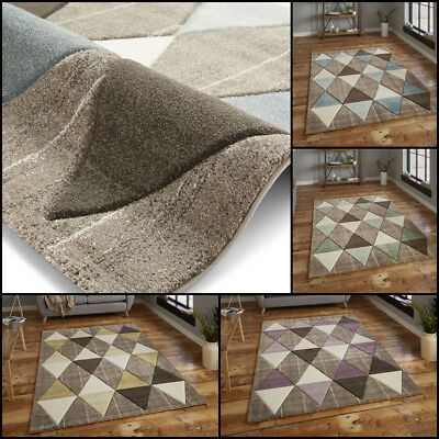 Small Extra Large Multi Coloured Hand Carved Heatset Geometric By Think Rug