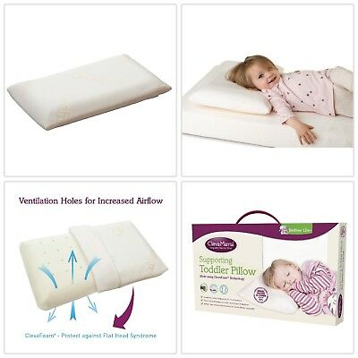 Clevamama ClevaFoam Baby Toddler Bed Pillow Breathable Foam Flat Head Prevention