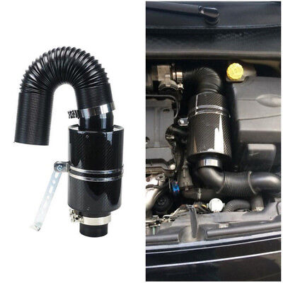 """Universal Carbon Fiber 3"""" Cold Air Filter Box Feed Enclosed Induction Intake Kit"""