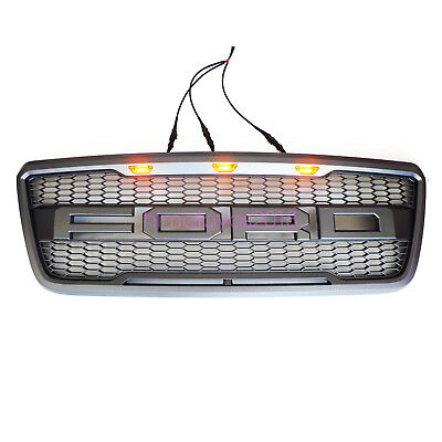 For 2004-2008 Ford F-150 F150 Raptor Style Conversion Grill Grille W F+R 3 LEDS